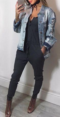 #fall #outfits · Denim Jacket // Dark Blue Jumpsuits // Pumps