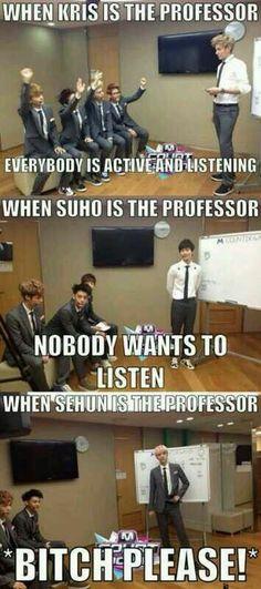 keke i am very impressed by Kris' teaching~ keke then Suho ... hmm.... He needs more practice~ then Sehun.... kekeke he is too fabulous to teach~ keke