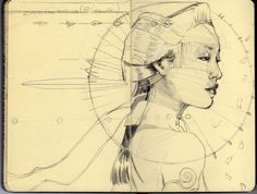 https://flic.kr/p/7tnhiD | Gueixa Tropical - Pencil | Concept Art Sketch in my moleskine - Daniela Procopio's Musical Show © Ramires Arte. Any duplication or use of the above object(s) is not permitted without Claudio Ramires written agreement.