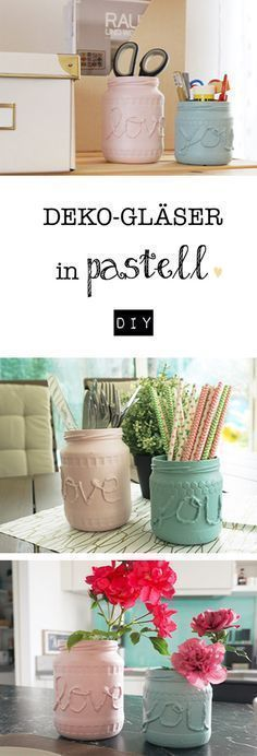 Sweet decorative glasses in pastel - DIY - Dekoration DIY - Party Diy Glasses, Glitter Mason Jars, Diy Home Accessories, Fairy Jars, Diy Crafts To Do, Thrift Store Crafts, Diy Garden Projects, Diy Table, Diy Party