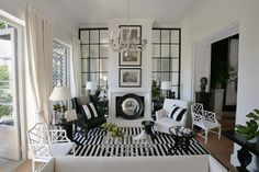 black, white + stripes--image via Gray Living #zincdoor #modern #blackandwhite #stripes