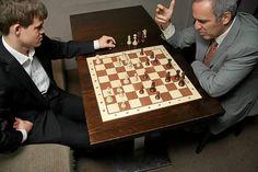 Magnus Carlsen and Garry Kasparov Logic Games, All Games, Magnus Carlsen, Garry Kasparov, Chess Players, Kings Game, Studs, People, Fun