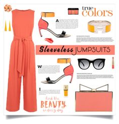 """""""All-in-One: Sleeveless Jumpsuits"""" by southindianmakeup1990 ❤ liked on Polyvore featuring Warehouse, Sara Battaglia, Nicholas Kirkwood, Hermès, Sylvio Giardina, Alexander McQueen, Yves Saint Laurent, Urban Decay and Estée Lauder"""