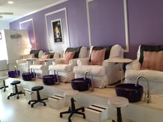 idea for pedicure stations using Noel Asmar pedicure bowls and accessories