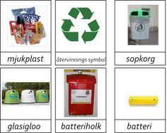Kort i 3 delar om sopsortering och återvinning.Materialet innehåller 24 kort.Vill du ha materialet så maila mig. montessorimaterial@hotmail.com