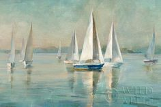 """Danhui Nai Sailboats at Sunrise Giclee Canvas 24""""x 36""""POD(print on demand)  #Impressionism Danhui Nai was born in mainland China and raised in an artistic household with her sculptor father and painter mother. Her natural passion for art was guided through classical training which she applies in her California studio to create beautiful, on-trend artwork in a variety of media. She studied interior design later in Paris and New York City"""