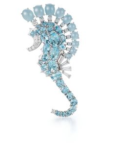 Seahorse Brooch A Seahorse Brooch with Aquamarine and Diamond set in 18K White Gold.  Signed Seaman Schepps.