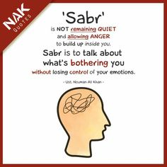 Meaning of sabr: expressing urself and still able to control emotions of not doing anything silly. To express is to evaluate wif careful thinking and making the best decisions to the problems.