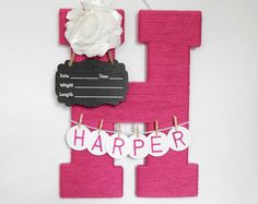 Hospital Door Hanging Baby Girl Personalized Yarn by LauraLizzies