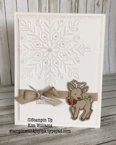 Stampin Up Seasonal Chums stamp set. Kim Williams, Stampin with Kjoyink, Pink Pineapple Paper Crafts. Sweet little reindeer Christmas Card. Check my blog for a peek of the back of the card :)