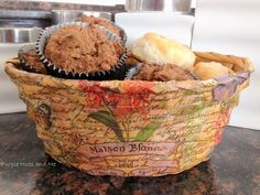 * Hometalk | DIY Decoupage Bread Basket. Done with napkins, glue, water and a sponge, on a dollar store basket. Pretty!