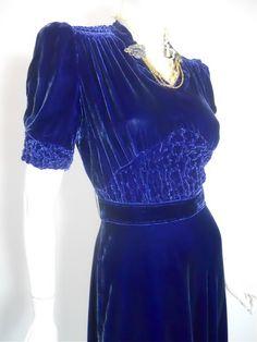 Amazing 1930's blue silk velvet dress. http://www.dorotheasclosetvintage.com/1930s.html