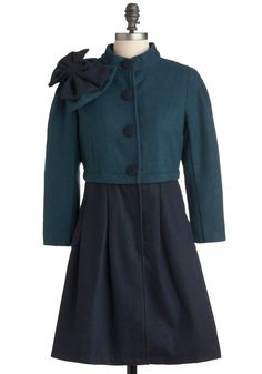Dynamic Duotone Coat by Ryu - Green, Blue, Bows, Buttons, Long Sleeve, Long, Solid, Pockets, Party, Vintage Inspired, 3.5