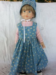 Doll Dress American Girl 1800s Country Prairie Frontier Vintage Style with matching Bonnet Set USA Handmade Arvilla Ruby AG Clothing
