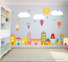 City Wall Decals, Wall Decals Nursery, Nursery Wall Decal, Kids Wall Decal, Wall Decal, Hot Air Balloon Wall Decal, Wall Decal Nursery by BebeDivaBoutique on Etsy https://www.etsy.com/nz/listing/259894446/city-wall-decals-wall-decals-nursery