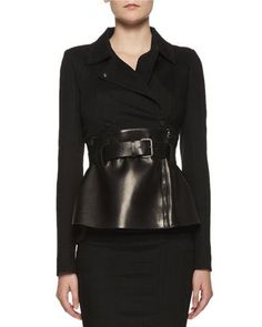 TOM FORD Belted Leather Peplum Wrap Jacket, Black. #tomford #cloth #