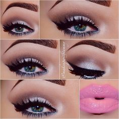 Pink Lips and dramatic liner