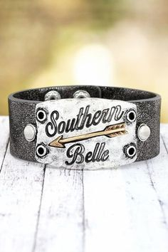 """Stylish """"Southern Belle"""" faux leather cuff is the perfect addition to your jewelry collection! Burnished Two-Tone 'Southern Belle' Gray Faux Leather Cuff Bracelet"""