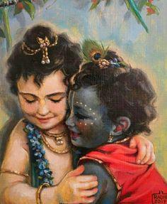 Krishna and Balarama hugging with affection Krishna Sudama, Krishna Janmashtami