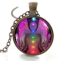 Reiki Chakra Glass Necklace