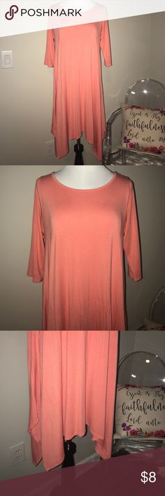 Coral Dress Flattering Hem Uneven 3/4 Sleeve + True to size | medium + I'm only selling it because it's too big for me now... I got so many compliments on this the few times I wore it! + Coral colored with 3/4 length sleeves + Uneven flattering hem  + Smoke free and pet free home 🏡 + NO TRADES 🚫  ✨ If you would like any additional photos or if you have any questions... please let me know! J&M Dresses