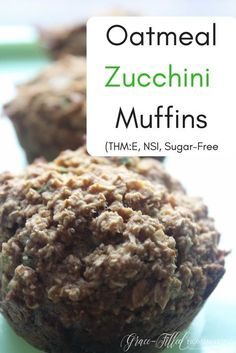 My Oatmeal Zucchini Muffins are a great way to use up any extra zucchini. They taste just like a loaf of zucchini bread! They are the perfect grab and go breakfast. Trim Healthy Mama Diet, Trim Healthy Recipes, Healthy Sweet Snacks, Thm Recipes, Cream Recipes, Healthy Treats, Recipies, Zucchini Muffins, Zucchini Bread