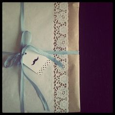 WEDDING PRESENTS NO ONE #wedding #wrapping #Doilies #moustache #dots #rockabilly