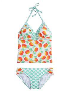 Pineapple Dot Tankini Swimsuit | Girls Swimsuits Swimwear | Shop Justice.           So cute