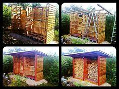 Abri bois fait de palettes  Firewood shed  #Pallets, #Shed