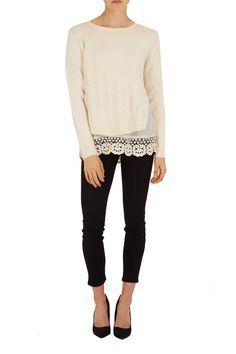 Cable Lace Trim Jumper - London Βoutique