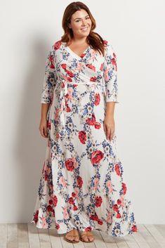White-Garden-3/4-Sleeve-Plus-Size-Wrap-Maxi-Dress