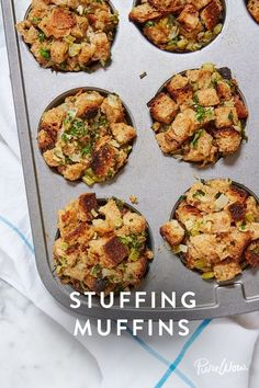 Stuffing Muffins: Perfect to complement your Thanksgiving dinner or leftovers via @PureWow
