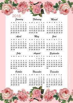 FREE printable 2018 calendar with pink vintage roses