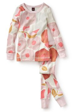 Tea Collection 'Tuscany Poppy' Fitted Two-Piece Pajamas (Toddler Girls & Little Girls)