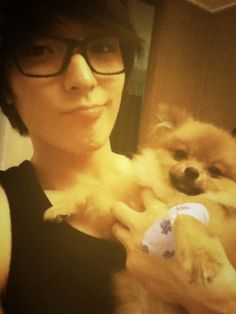 FT Island Jonghoon. Hate the glasses, love the doggie!