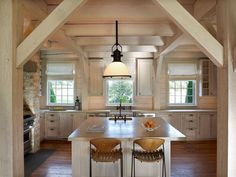 Timber frame kitchen (exposed beams) for residential polo farm in the Hamptons | Guillermo M. Gomez, Architect