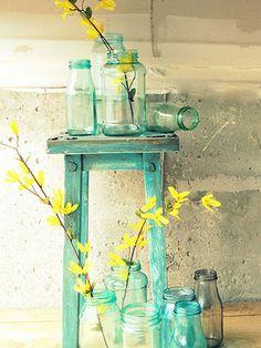Blue mason jar decor
