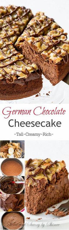 This rich and creamy german chocolate cheesecake will bring any chocolate lover to their knees. I'll show you how to make this decadent dessert with lots of step-by-step photos. (How To Bake Cheesecake) Brownie Desserts, Chocolate Desserts, No Bake Desserts, Just Desserts, Dessert Recipes, Chocolate Cake, Chocolate Cream, Decadent Chocolate, Health Desserts
