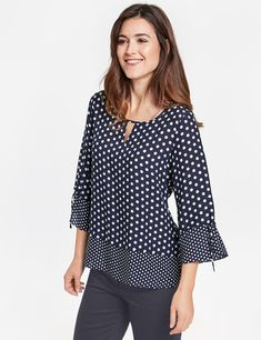3/4-sleeve blouse with polka dots,Navy/Ecru