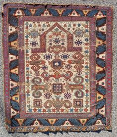 "Classic Pereperdil Prayer Rug > 45.5"" x 52"". Complete, no repair. Fine weave (10 x 11 =110 ksi).  Dated 1291 (1870) (See Kaffel #47) Easy restoration. Reasonably priced!"