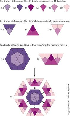 Dragon Kaleidoscope - English Paper Piecing Anleitung Drachen-Kaleidoskop Tutorial Kite Kaleidoscope