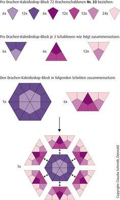 kaleidoscop, english paper piecing, kite, english paper pieceing, paper piecing patterns, hexagon