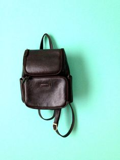 90's Leather Backpack // Vintage Leather Pack // by KittenSurprise