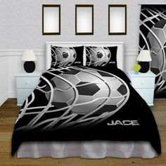 Soccer Theme Black and White Kids Bedding, with Personalization #146 #EloquentInnovations #Bedding #boysBedding #homeDecor #Soccer