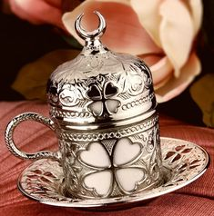 Ottoman Turkish Silver Brass Tea Coffee Saucers Cups Tray Set - HIGHEST QUALITY #Handmade #Turkish