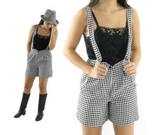 80s Checked Suspender Shorts Black White Jumper by ScarletFury, $48.00, https://www.etsy.com/listing/175350406/80s-checked-suspender-shorts-black-white Women's vintage urban street style fashion clothing outfit