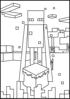 A free, printable Minecraft Enderman coloring page found at MinecraftColoringPages.com