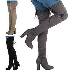 NEW WOMENS LADIES OVER THE KNEE THIGH BOOTS HIGH BLOCK HEEL BACK TIE UP BOOTS