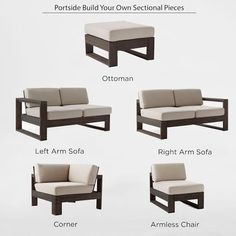 Build Your Own Portside Sectional - Weathered Cafe