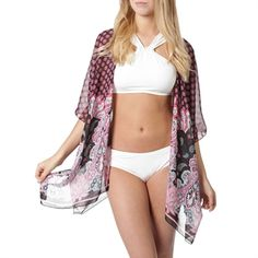 D&Y Juniors Paisley Open Tunic Wrap Paisley, Kimono Top, Tunic, Swimwear, Tops, Women, Fashion, Tunics, One Piece Swimsuits